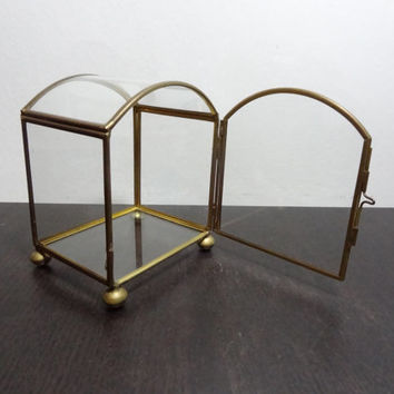 Vintage Glass and Brass Display Case/Box with Door on the Front and Feet - Hollywood Regency/Mid Century Modern