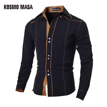 Men's  Slim Fit Casual Blouse Unique Neckline Full Sleeve Shirt Turn-down Collar Men's Shirts