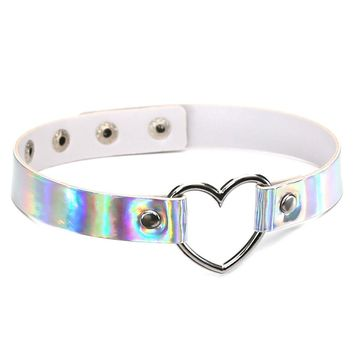 Harajuku Holographic Choker Necklace Heart Laser Collar Chocker Hologram Fashion Jewelry Pu Leather Choker Necklace for Women