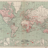 Vintage Map of The World (1918) by BravuraMedia