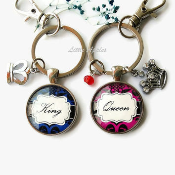 Royal wedding, Crowns ,Couple Keychains, King Queen, Valentine Gift, Dating Anniversary, Personalized gift