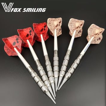 6pcs Professional Electronic Soft Tip Darts 18g 15cm Darts With Nylon Alloy Shaft With White Skull Pattern