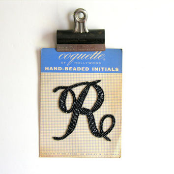 Hand Beaded Initial R Vintage Coquette of Hollywood Black Beads Monogram Applique Personalized Sweater Trim
