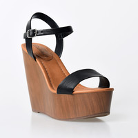Black Leatherette Emily Wooden Wedge Sandals