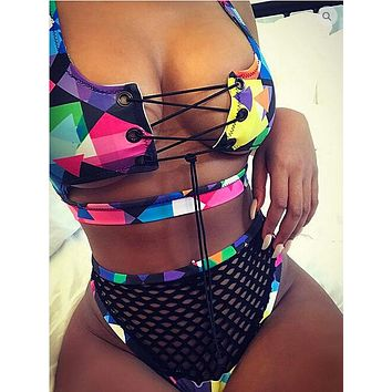 Women's Print Bikini Set Lace Up Push Up Padded Bra Brazilian Swimsuit 2017 Bathing Suit Swimwear Fishnet Triangle Nikini