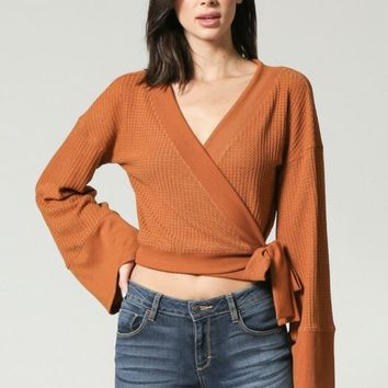 Bell Sleeve Wrap Crop Top