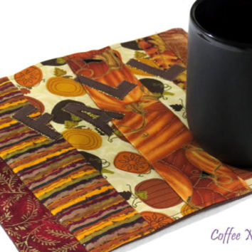 Fall mug rug/Coffee cup and snack mat