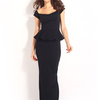 Black Backless Short Sleeve Peplum Pencil Maxi Slit Dress