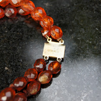Art Deco Natural Amber Faceted Double Strand Choker Neckalce