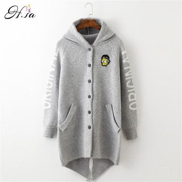 H.SA 2018 Autumn Winter Long Cardigan Sweaters Women Cartoon Hooded Sweater Coat Fall Warm Thick Poncho Jacket Oversized Jumper