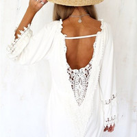 Swimsuit Cover Up ~ Gorgeous Summer Impressions Swimsuit Cover Up, Lace Mini Dress.