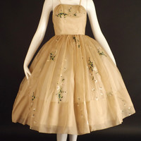 1950s Floral Silk Organza Party Dress, Bust-34