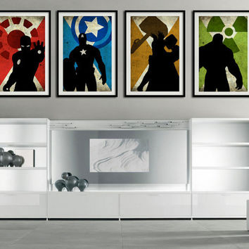 "The 4 Avengers - Captain america, Ironman, Hulk, Thor - super hero minimalist art movie poster prints 4 x 11""x17"""