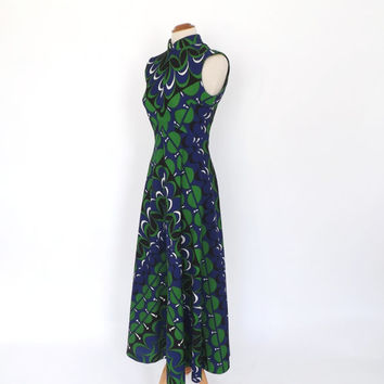 Vintage 1960s 1970s Long Maxi Gown 60s Hippie Dress 70s Avant Garde Groovy Geometric Print Diva Prom Gown Tribal Hostess Dress