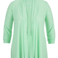 Plus Size - Lace Back Open Front 3/4 Sleeve Cardigan