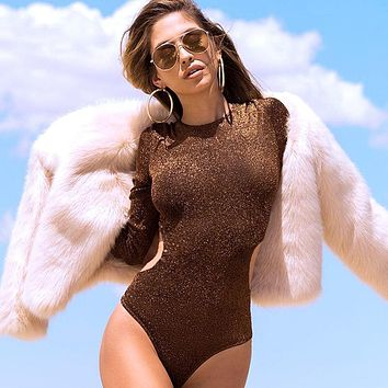 Women's Fashion Summer Sexy Hollow Out Long Sleeve One-piece [524151881743]
