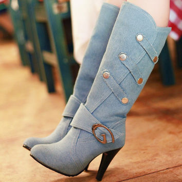 Women Spring Autumn Shoes Knee High Boots Spiked High Heels Buckle Strap Round Toe Less Platform Shoes Plus Size 32-43 Alternative Measures