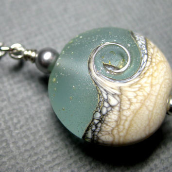 Ocean necklace, Ocean wave aqua pendant necklace, Lampwork necklace, Sterling silver, Handmade beach jewelry