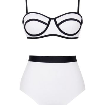 La Digue White and Black Color Block High Waisted 2 Piece Swimsuit