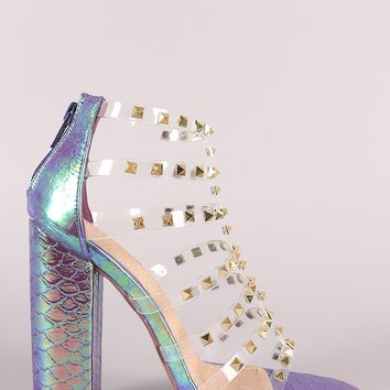 Liliana Clear Studded Straps Holographic Chunky Heel