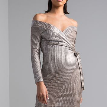AKIRA Off Shoulder Tie Waist Bodycon Metallic Long Sleeve Mini Dress in Mocha Silver