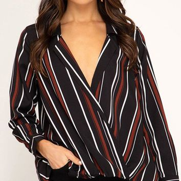 Start Of Something Big Stripe Pattern Long Sleeve Cross Wrap V Neck Blouse Top - 2 Colors Available