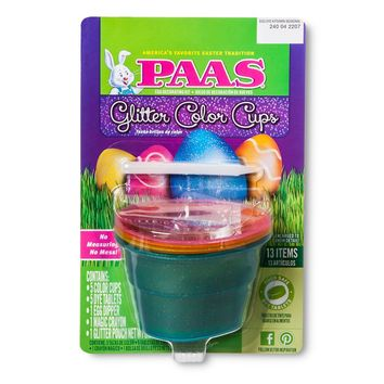 PAAS GLITTER COLOR CUP NO MESS EASTER EGG DECORATING KIT