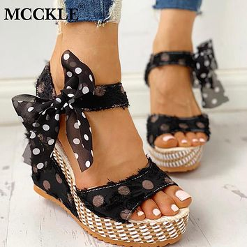 MCCKLE Women Sandals Dot Bowknot Design Platform Wedge Sandals Female Casual Shoes Ladies Fashion Ankle Strap Open Toe Footwear