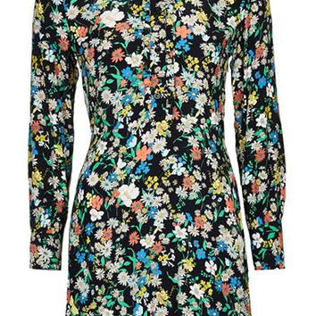 Topshop 'Graphic Retro Doll' Floral Print Ruffle Detail Dress | Nordstrom