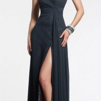 Sweetheart ruched side slit evening gowns by Faviana