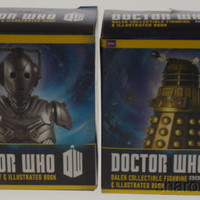 Set 2 Doctor Who BBC Dalek Cyberman Bust Figurine Mega Mini Kits Books History