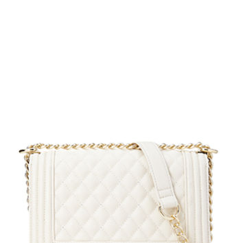 FOREVER 21 Quilted Faux Leather Crossbody Cream One