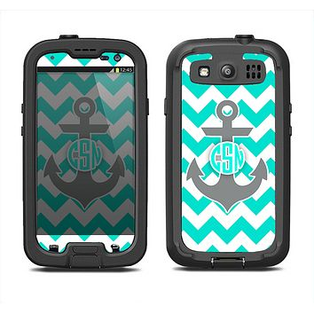 The Teal Green and Gray Monogram Anchor on Teal Chevron Samsung Galaxy S3 LifeProof Fre Case Skin Set