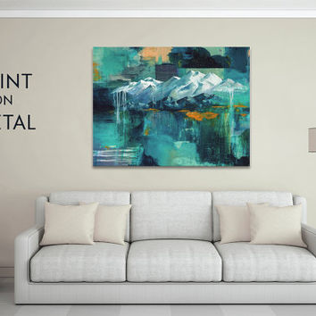 Metal wall art, mountain art, aluminum art print, metal art, colorful artwork livingroom decor art on metal 16x20, 24x36 mountain painting