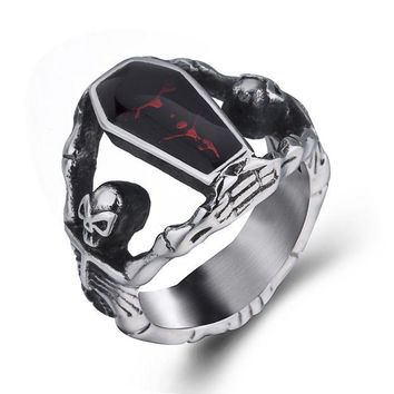 ONETOW Elfasio Men's Stainless Steel Band Ring Gothic Vampire Skeleton Bloody Red Enamel Coffin Bike