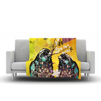 "alyZen Moonshadow ""Birds In Love Yellow"" Orange Gold Fleece Throw Blanket"