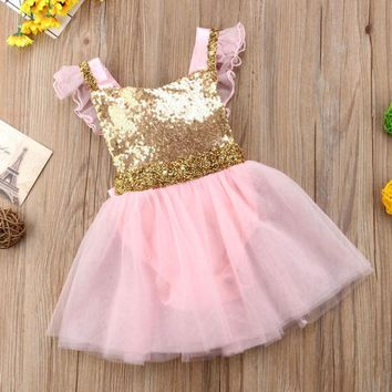 Pink Tutu Dress with Gold Sequins