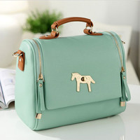 Sweet Mint Green Gold Horse Shoulder Bag