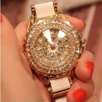 2015 upscale female models female form diamond grade ceramic watches quartz watches for women (Color: White) = 1747716484