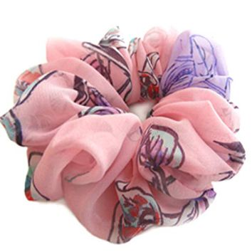 Hair Scrunchie Designer Accessories Pink Large Chiffon Pony Tail Holder