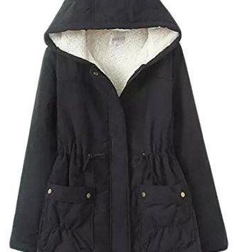 Pandapang Women Military Winter Casual Outer Coat Hoodie Jacket Trench Parkas
