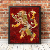 Harry Potter, Gryffindor Lion, Lannister Game of Thrones, painting of lion, Mixed media collage art, gift for boyfriend, man cave decor