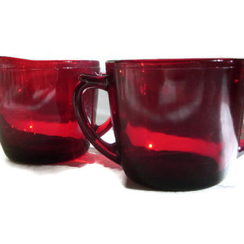 Anchor Hocking Vintage Sugar and Creamer, Red Glass,  Royal Ruby, Discontinued, 1950's, Retro Kitchen