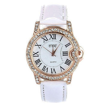Women Lady PU Leather Band Round Dial Quartz Analog Wrist Watch = 6014634439