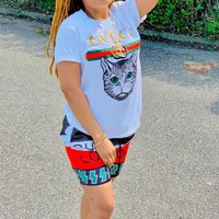 GUCCI Newest Fashionable Women Casual Print Short Sleeve Top Shorts Sport Set Two-Piece