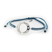 "Adjustable Silver Rhodium Plated  Blue  and Metal Cord Hand Made Hebrew ""Shema"" Open Circle Bracelet"