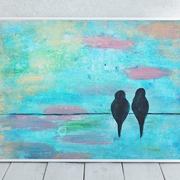 Birds On A Wire Print - Bird Art - Bird Wire Art - Bird Painting Print - Birds Sitting On A Wire - Colorful Art - Bird Home Decor - Download