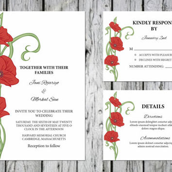 Wedding Invitation template printable , Editable Microsoft Word Template | Instant Download | I-076