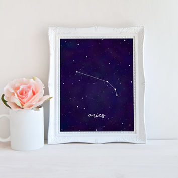 Aries Zodiac Constellation Horoscope Watercolor Printable Sign, Star Night Sky, Digital Wall Art Template, Instant Download, 8x10