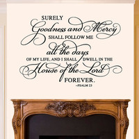 Wall Decal Vinyl Sticker Decals Art Decor Design Sign Psalm 23 Quote House Lord Bless Pray Family Love Beautiful Words Gift Bedroom(r537)